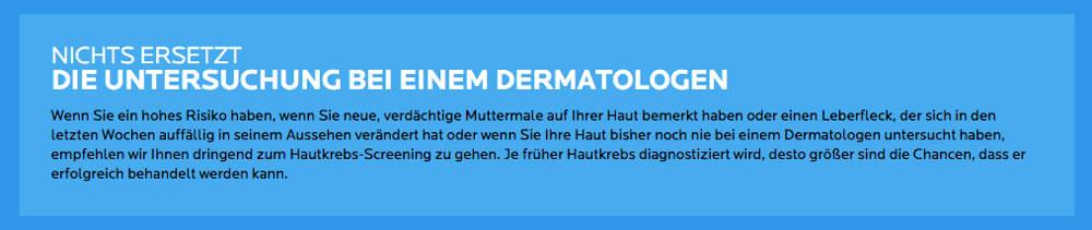 Zur Untersuchung zum Dermatologe