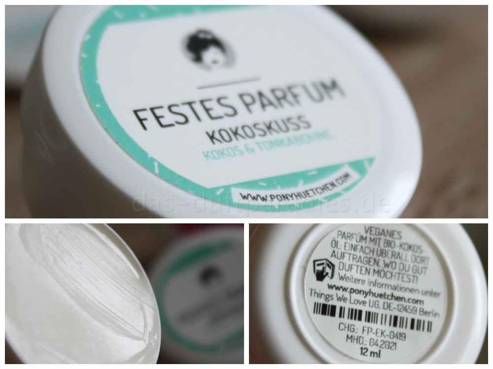 Ponyhütchen Kokoskuss Solid Parfum mit natürlichem Kokosduft