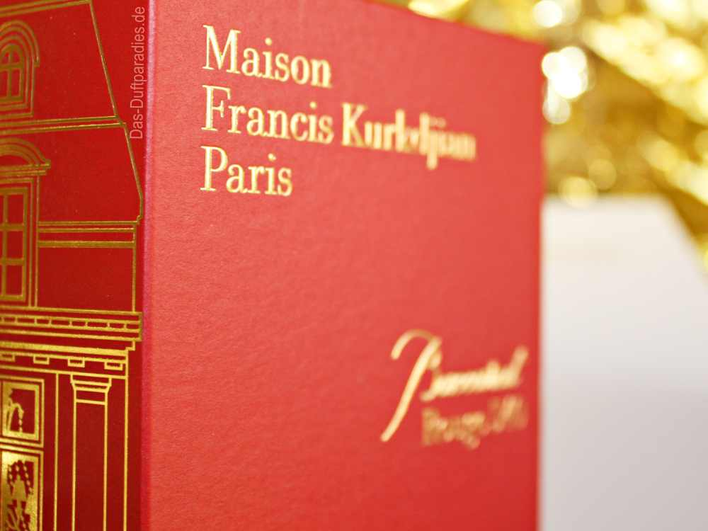Francis Kurkdjian Baccarat Rouge Kartonage mit goldener Aufschrift